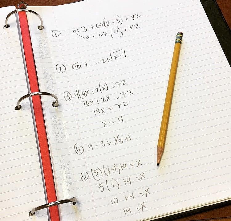 math anxiety notebook